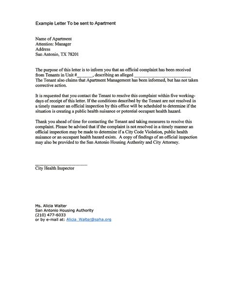 write  noise complaint letter  landlord