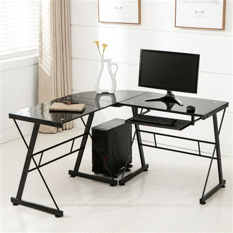 home office table desk l shape corner computer desk pc glass laptop table