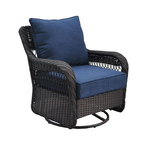 shop allen roth glenlee brown wicker swivel glider patio