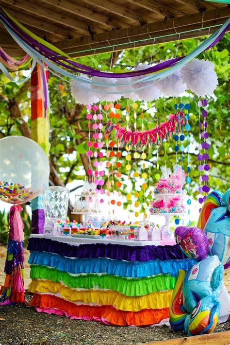 kara 39 s party ideas rainbow themed birthday party my pony rainbow themed birthday party of