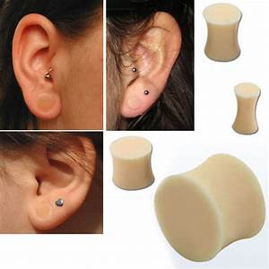 Pair Double Flare Solid Beige Silicone Plug Retainer Ear