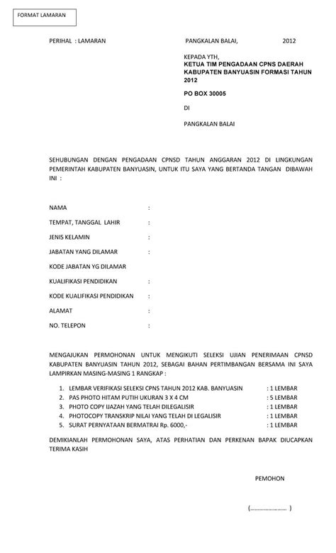Contoh Surat Lamaran Kerja Cpns Kemdikbud 2017 by Pengumuman Seleksi Penerimaan Cpns Kab Banyuasin Terbaru