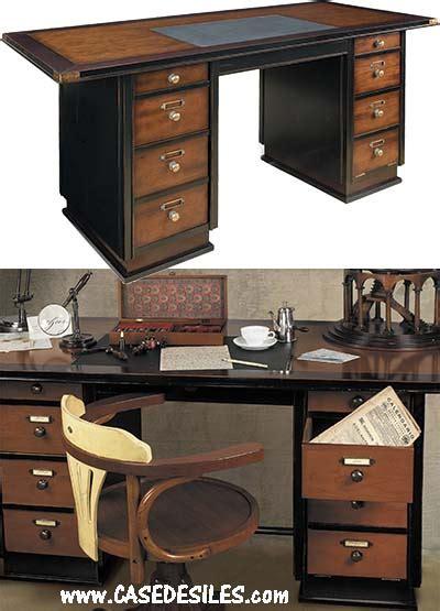 bureau bois noir bureau marine en bois laiton cuir noir mf014