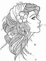 Tattoos Head Coloring Tattoo Gypsy Outline Flash Tymannost Ru sketch template
