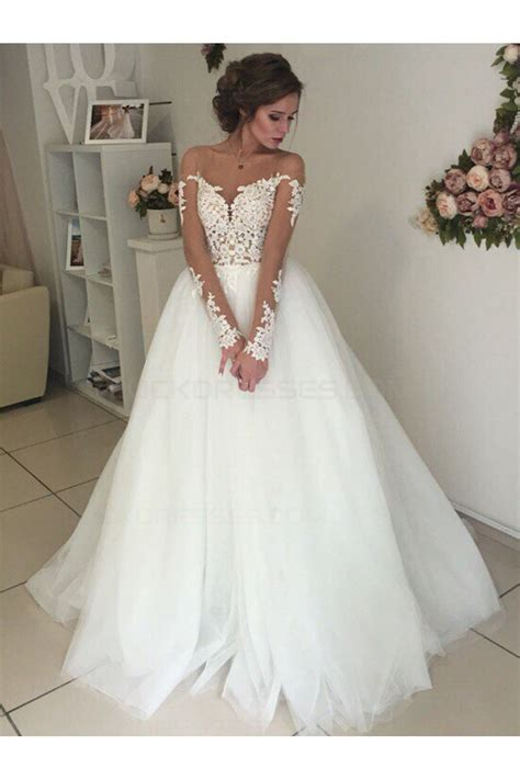 long sleeves lace illusion neckline wedding dresses bridal