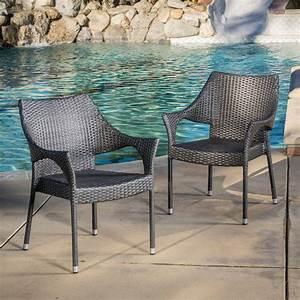 Outdoor, Wicker, Stackable, Chairs, Set, Of, 2, Grey, -, Walmart, Com