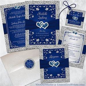 Navy blue and silver wedding invitation set joined for Wedding invitation designs blue and silver