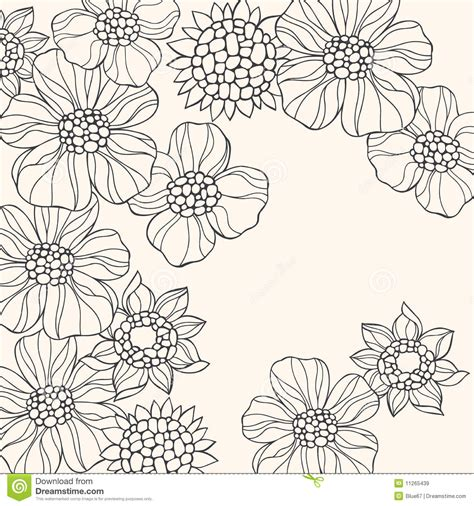 outlined doodle flowers vector stock vector image