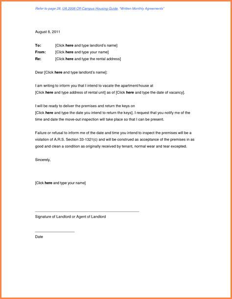 termination  rental agreement letter  tenant