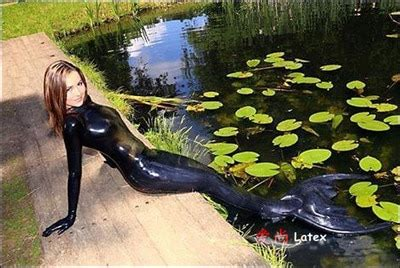 sexy black latex mermaid clothes inflatable latex tail