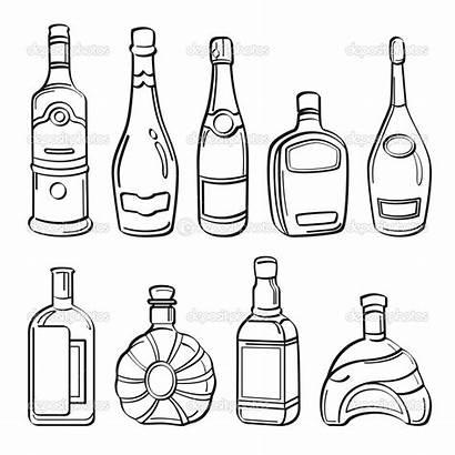 Alcohol Bottles Drawing Liquor Illustration Sketch Different