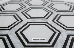black and white hexagon pattern water jet marble mosaic non slip bathroom floor tiles design