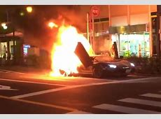 Video Lamborghini Aventador catches fire in Tokyo