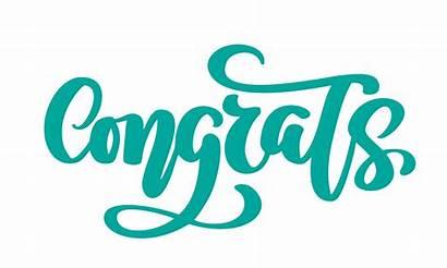 Congrats Text Hand Drawn Vector Phrase Word