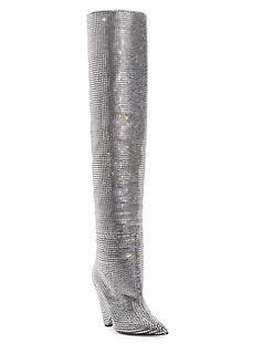 Saint Laurent Niki Over The Knee Crystal Boots Only