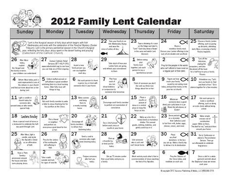 family lent calendar st john vianney catholic church