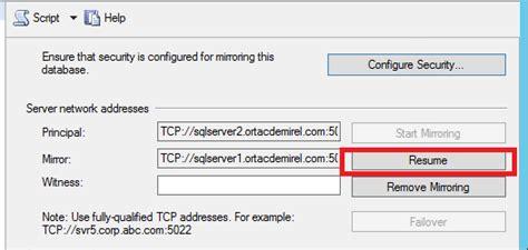 sql server database mirroring failover ve failback