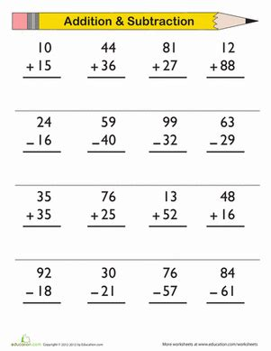 2nd grade math worksheet addition and subtraction digit addition and subtraction worksheet