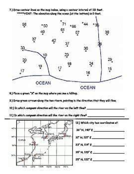 Contour Lines Worksheets (topographic Maps) By David Kennedy Tpt