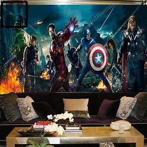 Marvel Avengers Heroes Photo Wallpaper 3d Wall Mural Kids ...