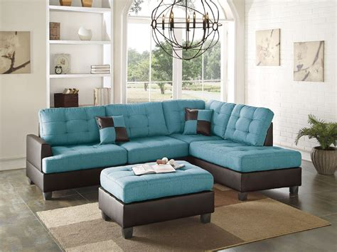 Sofa Sectionals With Chaise by Teal Linen Sectional Sofa Chaise Ottoman Sectionals