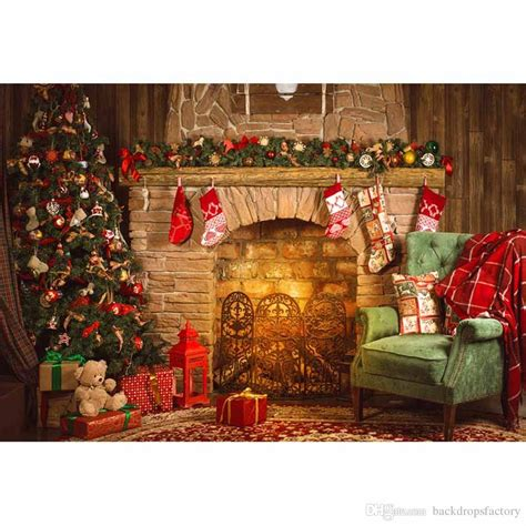 2019 indoor merry christmas fireplace background vintage computer printed tree toy