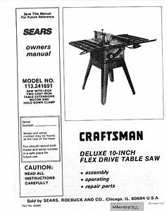 Craftsman 113 241691 Table Saw Owners Instruction Manual
