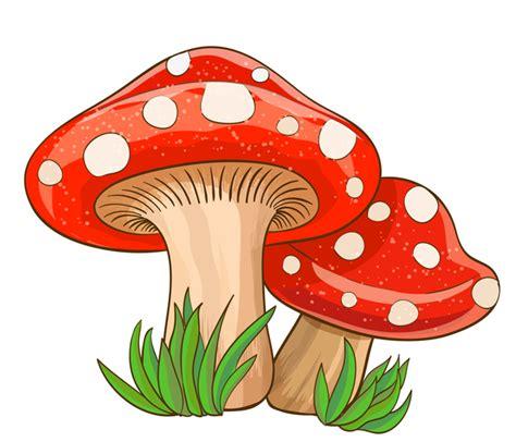 cartoon mushrooms  grass vector