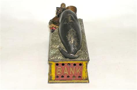 Rare Shepard Jonah & Whale Cast Iron Mechanical Bank