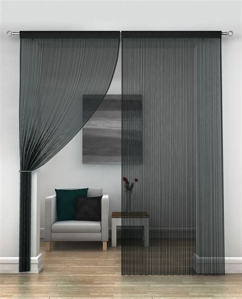 String Curtains by Black String Curtains Per Pair Net Curtain 2 Curtains