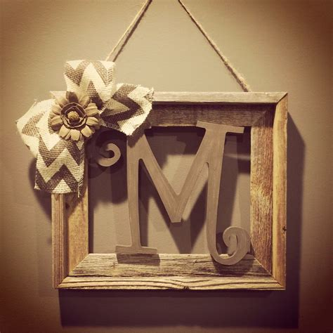 barnwood rustic home decor frame  initial rustic home decor rustic decor rustic frames