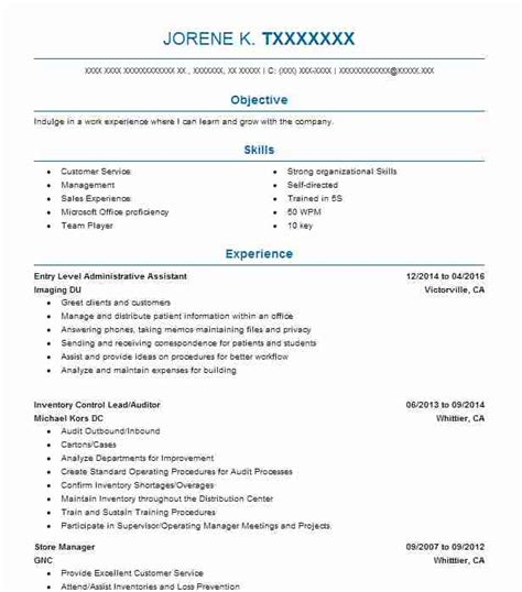 Entry Level Officer Resume by Entry Level Administrative Assistant Resume Sle