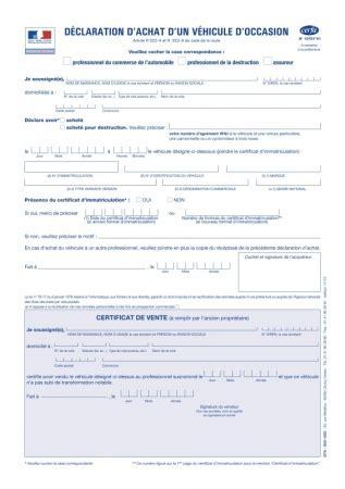 declaration achat vehicule occasion jankuit nl cerfa d 233 claration d achat d un v 233 hicule d occasion