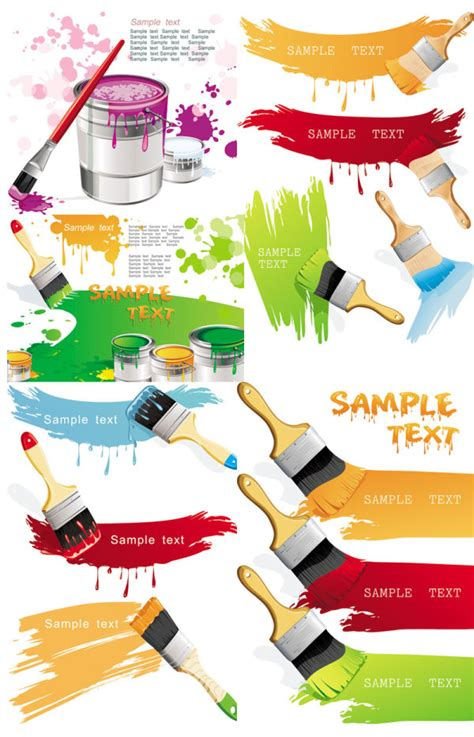 paint brush and color vector free vector psd