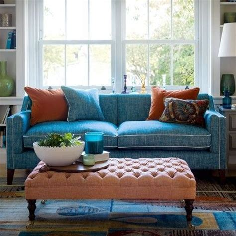furniture for livingroom blue sofa with white piping tufted ottoman as coffee