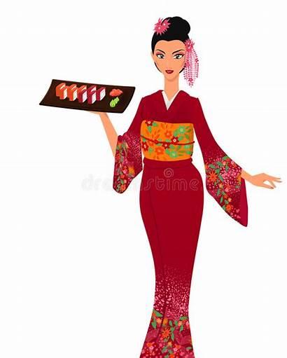 Japanese Woman Cartoon Asian Young Traditional Sushi