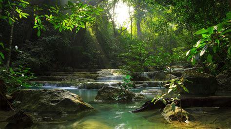 Relaxing View Of Erawan Waterfall Erawan National Park