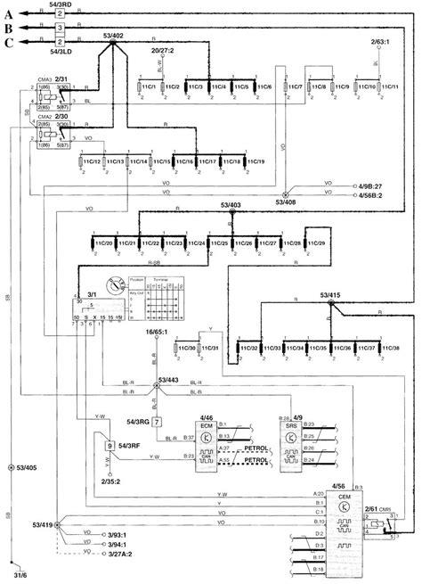 volvo v70 2000 wiring diagrams power distribution