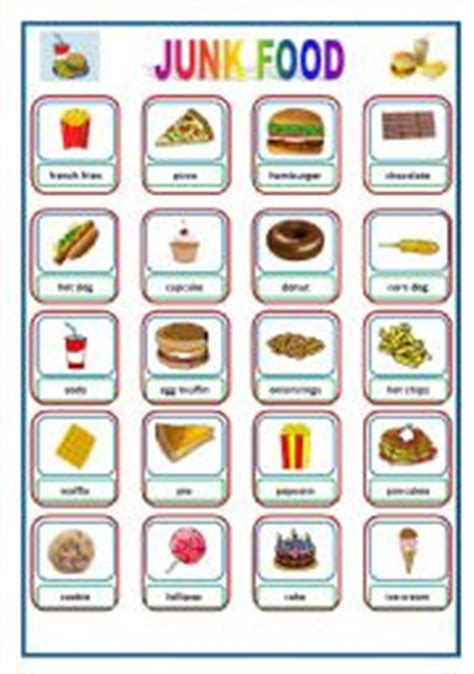 Junk Food  Pictionary  Flashcards  Esl Worksheet By Stonefarm