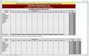 Financial Analysis Template Excel Monthly Spending Log Monthly Spending Worksheet