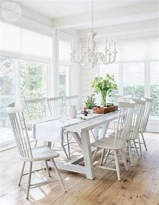 White Trestle Dining Table with White Windsor Dining