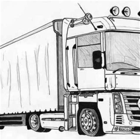 wheeler semi truck illustration coloring page