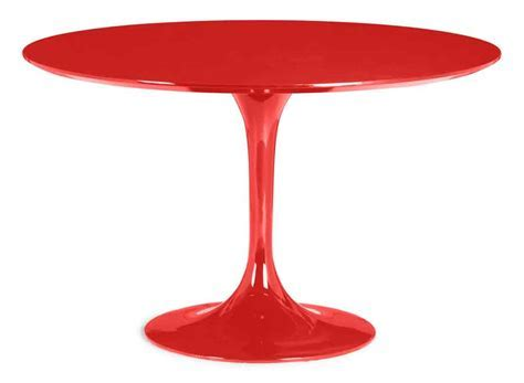 Round Red Glossy Retro Pedestal Table Zuo 102174