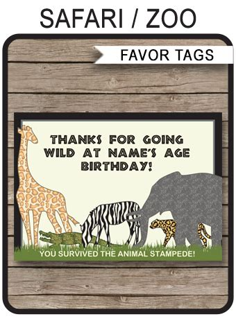 zoo party favor tags   tags safari birthday party