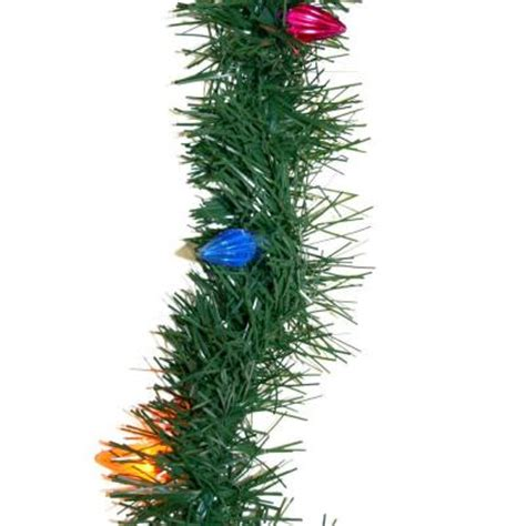18 ft pre lit pine garland with multi color lights