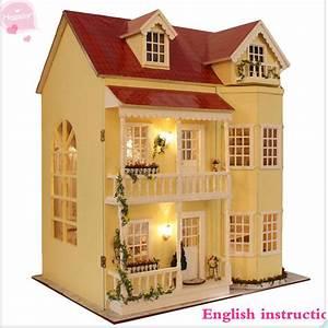 Wooden Handmade Dollhouse Miniature DIY Kit -Large Villa