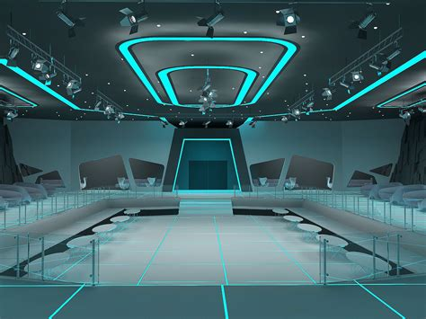Tron Style Club Interior With Aleksandra Gromova By