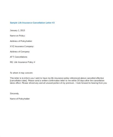 insurance cancellation letter wordpress templates