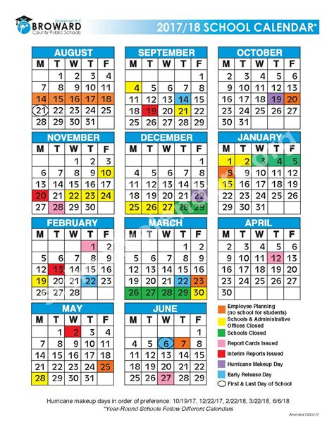 district calendar broward county public schools fort