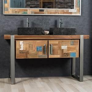 meuble sous vasque double vasque en bois teck massif With meuble industriel salle de bain